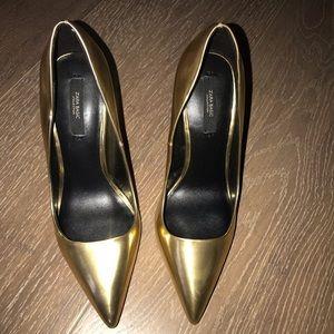 Zara Gold Pumps Size 38 NWOT